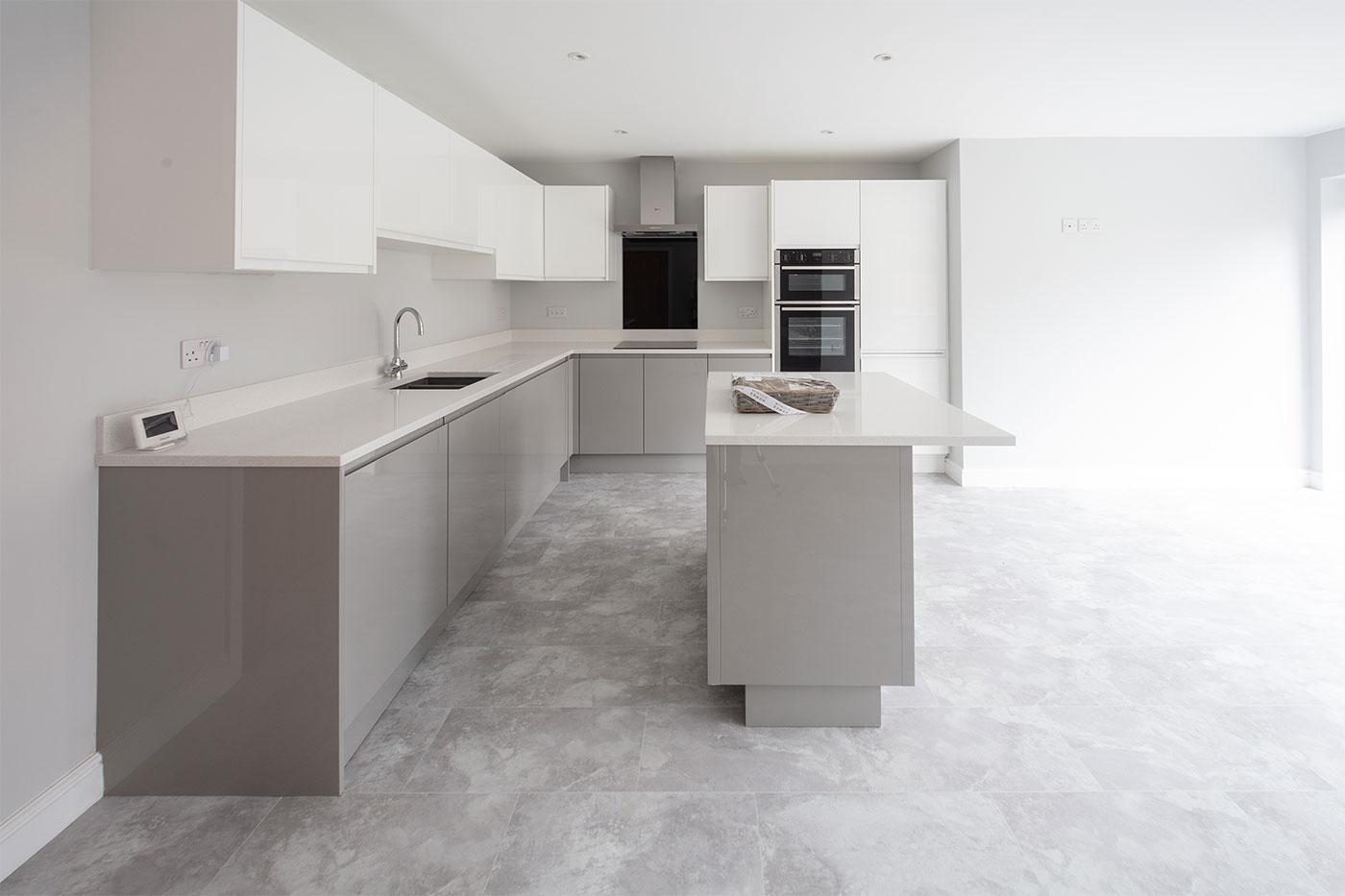 Grey modern kitchen in new build home